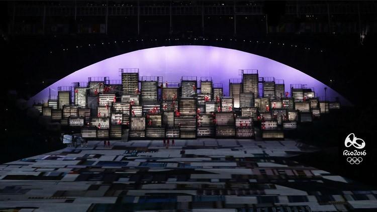 City skyline scene from Rio2016 opening ceremony